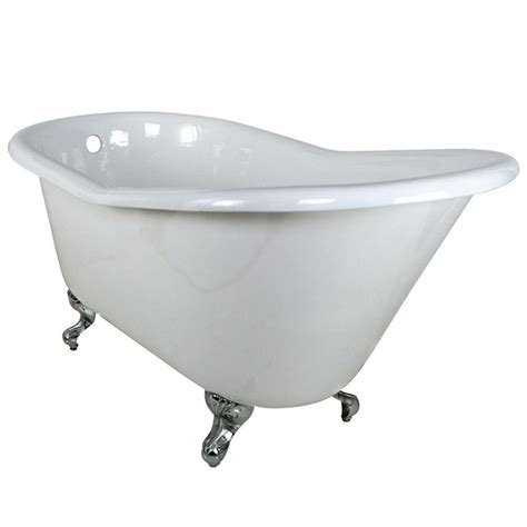 7 Ft Bathtub by Aqua 5 Ft Cast Iron Rubbed Bronze Claw Foot Slipper Tub With 7 In Deck Holes In White