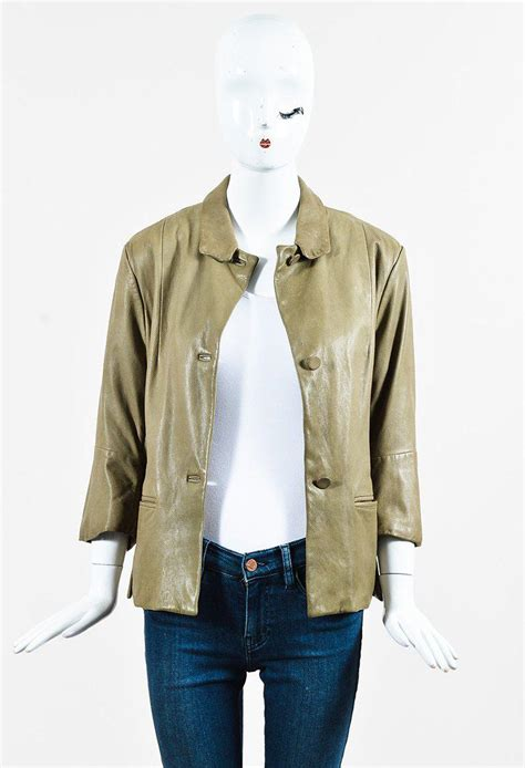 lyst marni light green leather collared button up jacket