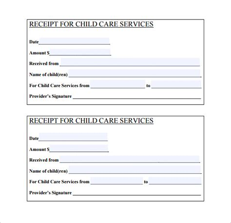 Babysitting Receipt Template by 24 Daycare Receipt Templates Pdf Doc Free Premium