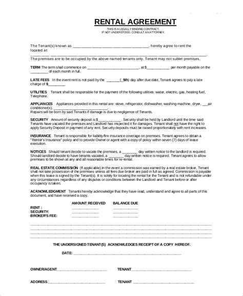 apartment rental agreement template sle apartment rental contract 7 documents in pdf
