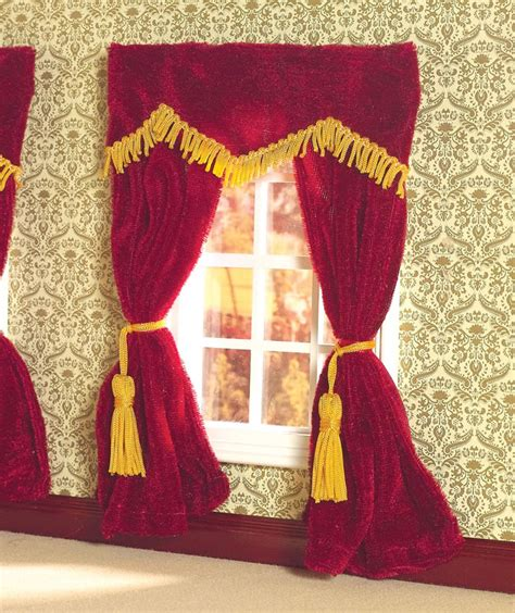 plush curtains plush red velvet curtains 1 12 scale for dolls house 5777