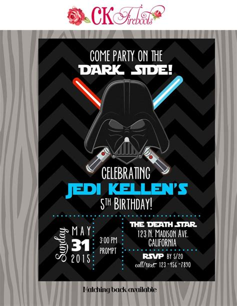 darth vader birthday card template best 25 wars invitations ideas on