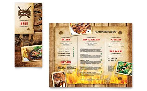 menu brochure template steakhouse bbq restaurant take out brochure template