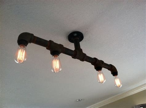 How To Make A Pipe Light Fixture Pipe Light Fixture Living Kitchen