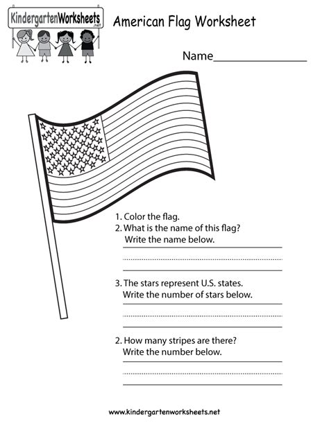 An American Worksheet Free Printable American Flag Worksheet For Kindergarten