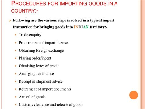Export Import Procedures And Documentation Mba Notes by Import Procedures In India From Foreign Countries