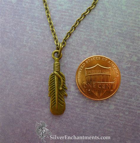 Feather Bronze Necklace feather necklace bronze sided feather charm necklace