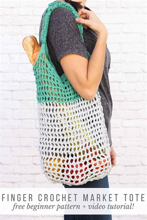 Tote Bag Gig Market Tote free market tote bag pattern finger crochet tutorial