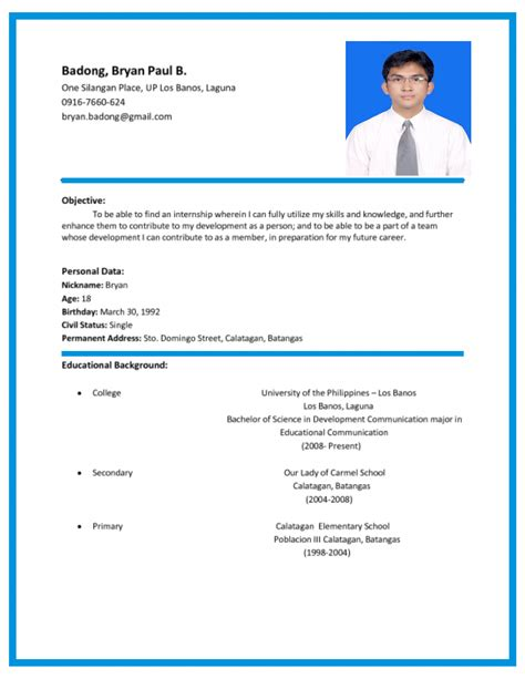 Curriculum Vitae by Format Of Curriculum Vitae In The Philippines Resume