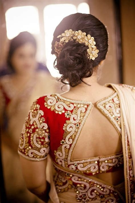 hairstyle design for saree back neck blouse ready made and customized designer blouse