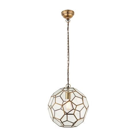 Single Pendant Lights Endon Lighting Miele Single Light Ceiling Pendant In Antique Brass And Clear Glass Lighting