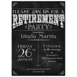 chalkboard black retirement party photo invitations