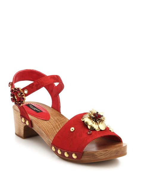 wooden heeled sandals dolce gabbana and metal flower leather wooden