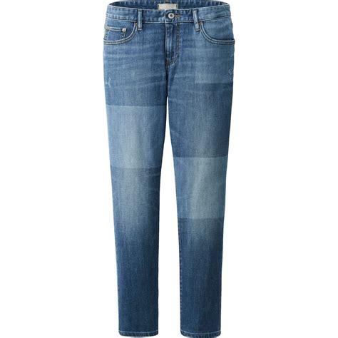 Ankle Length Khakis By Gap Boyfriend uniqlo slim boyfriend fit ankle length in blue lyst