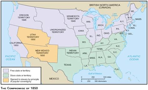 map of the united states in 1850 eventscivilwar compromise of 1850