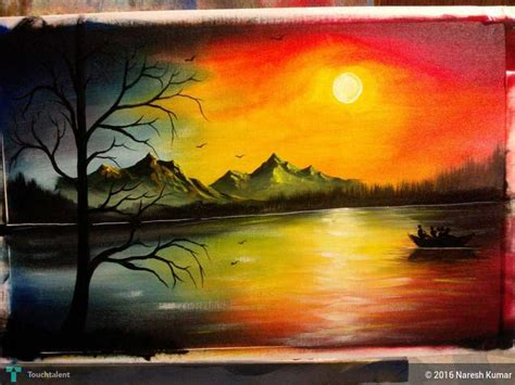 painting images sunset painting nature sunset painting naresh kumar