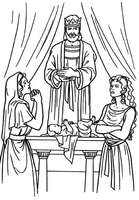 coloring pages king solomon solomon two women and a baby bible coloring page
