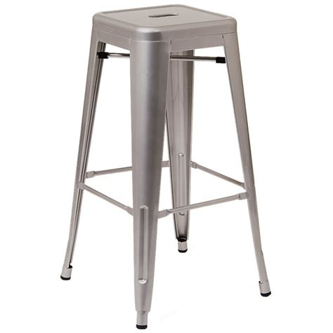 Bistro Style Bar Stools by Bistro Style Metal Backless Bar Stool In Light Grey Finish