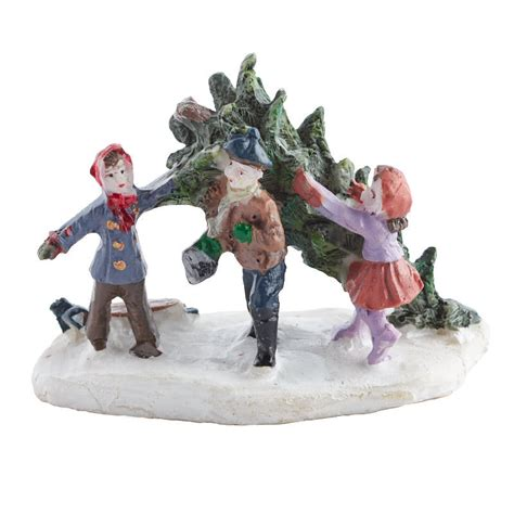 miniature children with christmas tree figurine