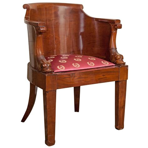 Furniture Chair Desk Empire Style Empire Solid Mahogany Desk Chair Early 19th Century For Sale At 1stdibs