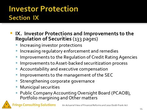section 165 of the dodd frank act an actuarial view of financial reforms and 2010 dodd frank act
