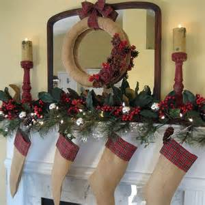 my rustic and cozy christmas mantel burlap and plaid