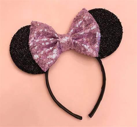 Headband Bayi Glitter Purple Bow Murah items similar to lavender mickey ears purple minnie mouse sparkle bow headband sparkly mouse