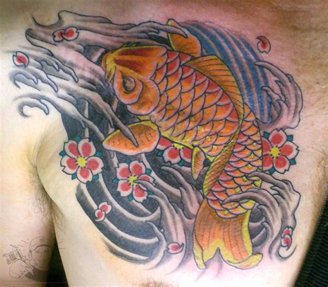 koi tattoo chest plate koi fish chest plate tattoo covering scar