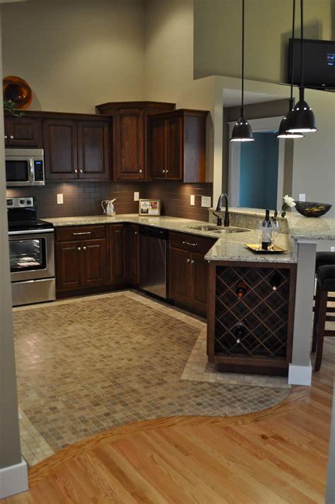 oak hardwood floors  curved transition  mosaic