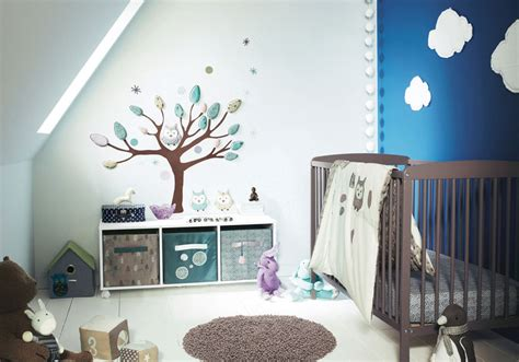 Cool Baby Room With Tree Of Wall Decor And Sloped Ceiling Modern Nursery Decor Ideas