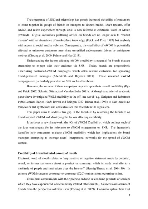 Ewom credibility on social networking sites a framework