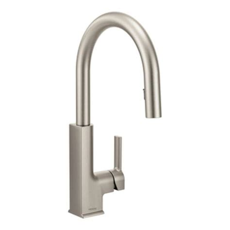 single handle high arc kitchen faucet moen sto single handle high arc pulldown kitchen faucet at