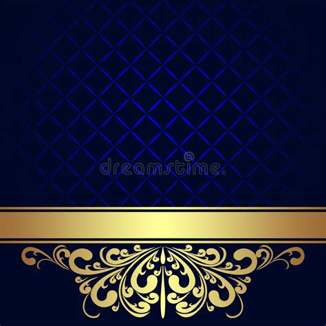 Navy Blue Background Decorated The Golden Royal Border Royalty Free | navy blue background with golden royal border stock