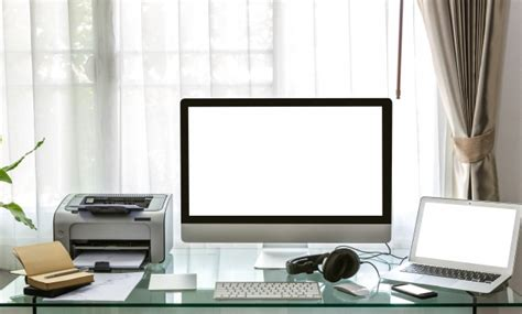desk for laptop and printer computer laptop and printer on a desk photo free