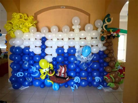 Back wall party design balloon decoration pirate theme dreamark events www dreamarkevents com