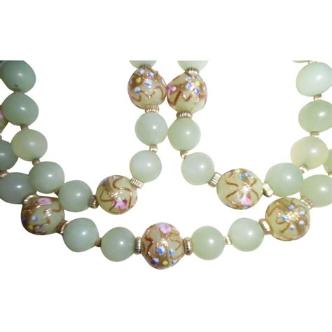 antique jade bead necklace vintage jadeite jade bead venetian glass bead necklace