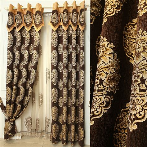 floral jacquard curtains quality chenille brown floral jacquard room darkening curtains