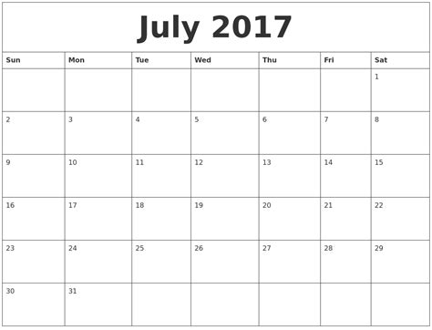 Calendar This Month July 2017 Calendar Month