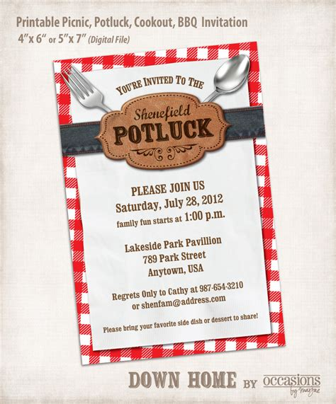 potluck invitation template printable picnic potluck cookout bbq by occasionsbymarjae