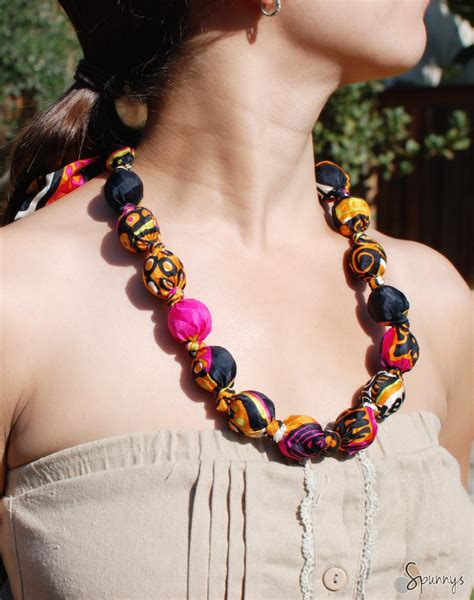 fabric bead necklace fabric covered bead necklace diy tutorial spunnys