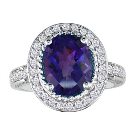 155 carat amethyst and ring in 14k white gold
