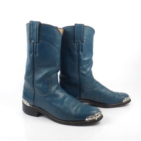 teal cowboy boots teal cowboy boots vintage 1980s justin roper blue s