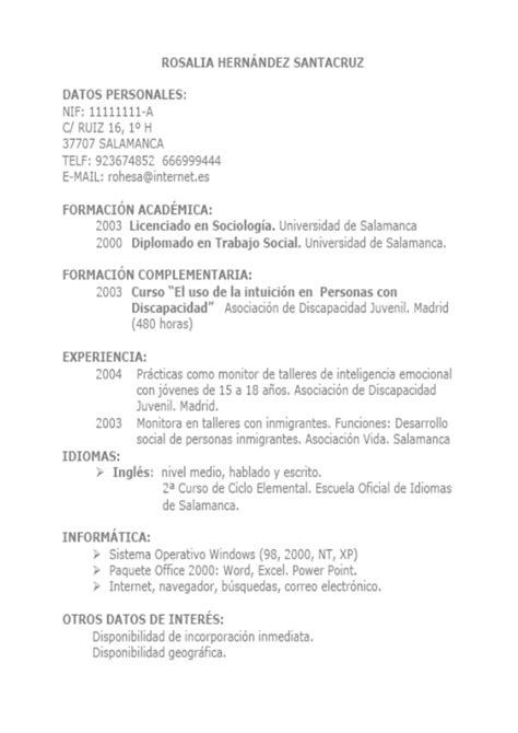 Plantilla De Curriculum Vitae Cronologico Inverso ejemplo de currculum vitae cronolgico ejemplo cv cronol 243 gico inverso