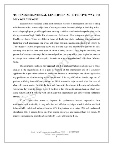 Leadership Essay by Leadership And Management Essay Sle