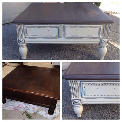 chalk painted annie sloan coffee table refinished