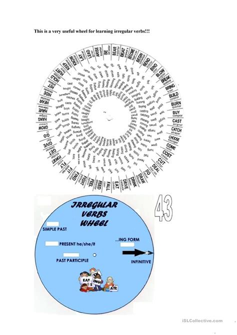 verb wheel worksheet free esl printable worksheets made