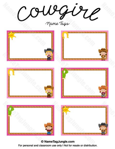 printable name tag cards free printable cowgirl name tags the template can also be