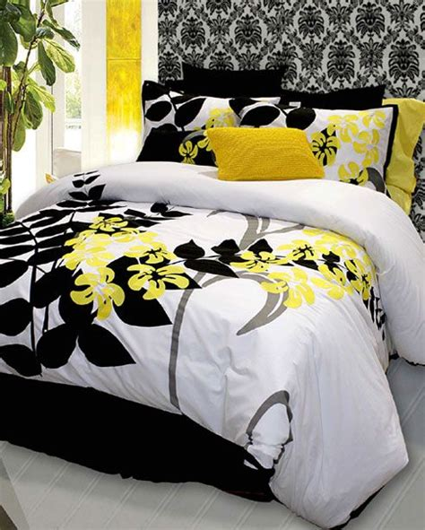 black white and yellow bedroom this may be my next duvet cover it would look great with my gray venetian plastered walls