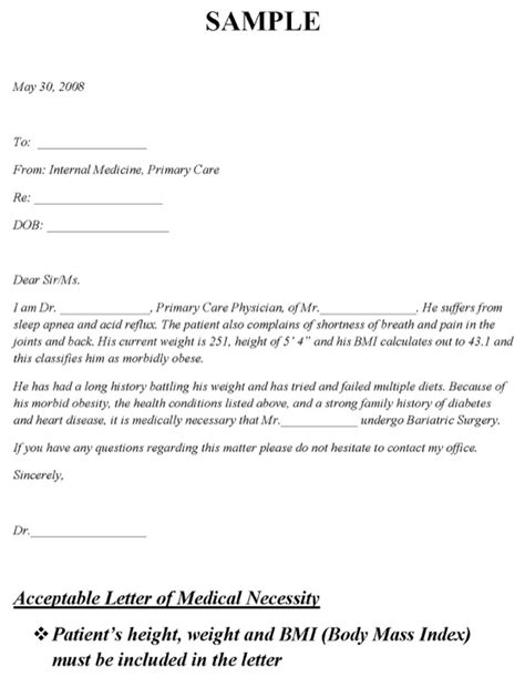 Bariatric Cover Letter by Letter Necessity Bariatric Surgery Docoments Ojazlink