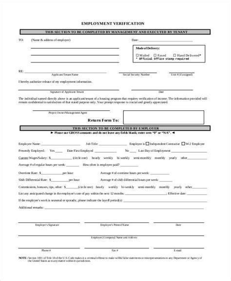 sle of verification of employment verification form templates
